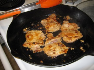 Optional browning of chicken thighs.  I just really like browned meat.