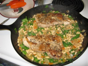 The finished skillet, with spinach!