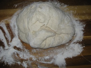 Dough, kneaded and ready to go.